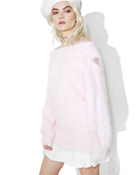 Fluffy Heart Off Shoulder Sweater