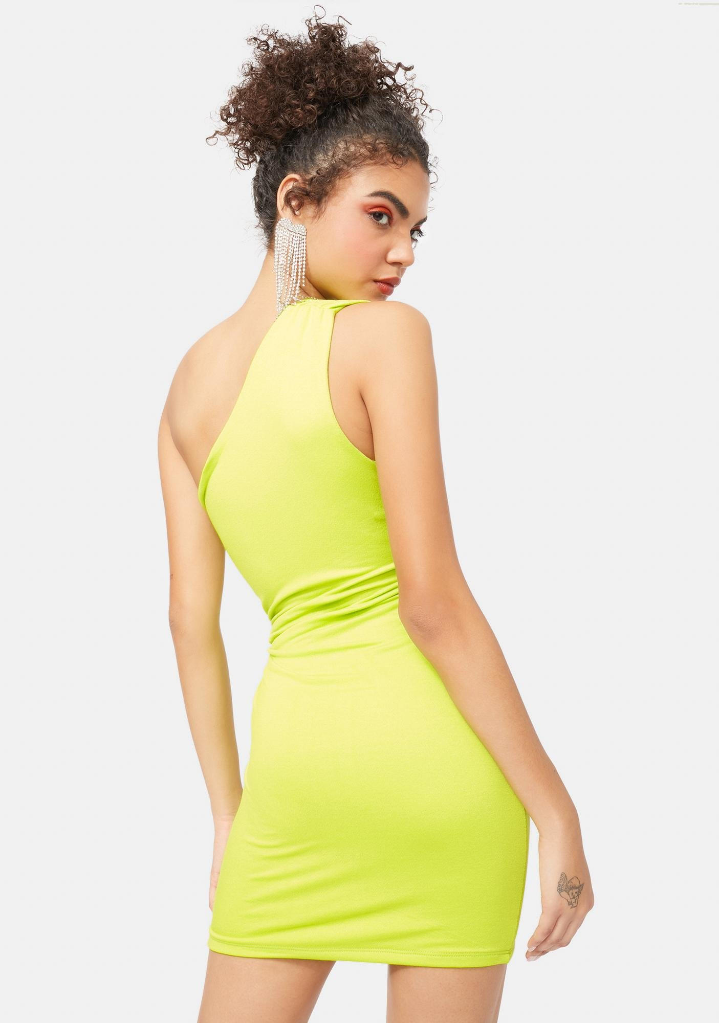 Lime It's Complicated Ruched One Shoulder Dress