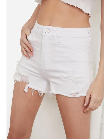 Icy Dancing Under The Moon Denim Distressed Shorts