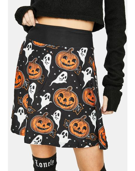 Pumpkin And Ghosty Skater Skirt