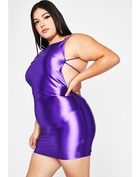 Grape Viral Status Satin Dress