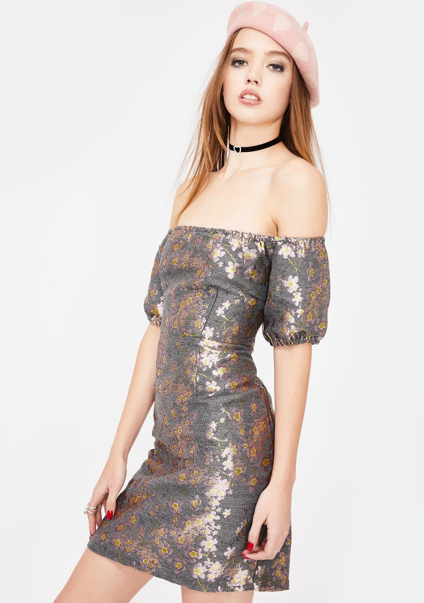 Glamorous Brocade Off The Shoulder Dress