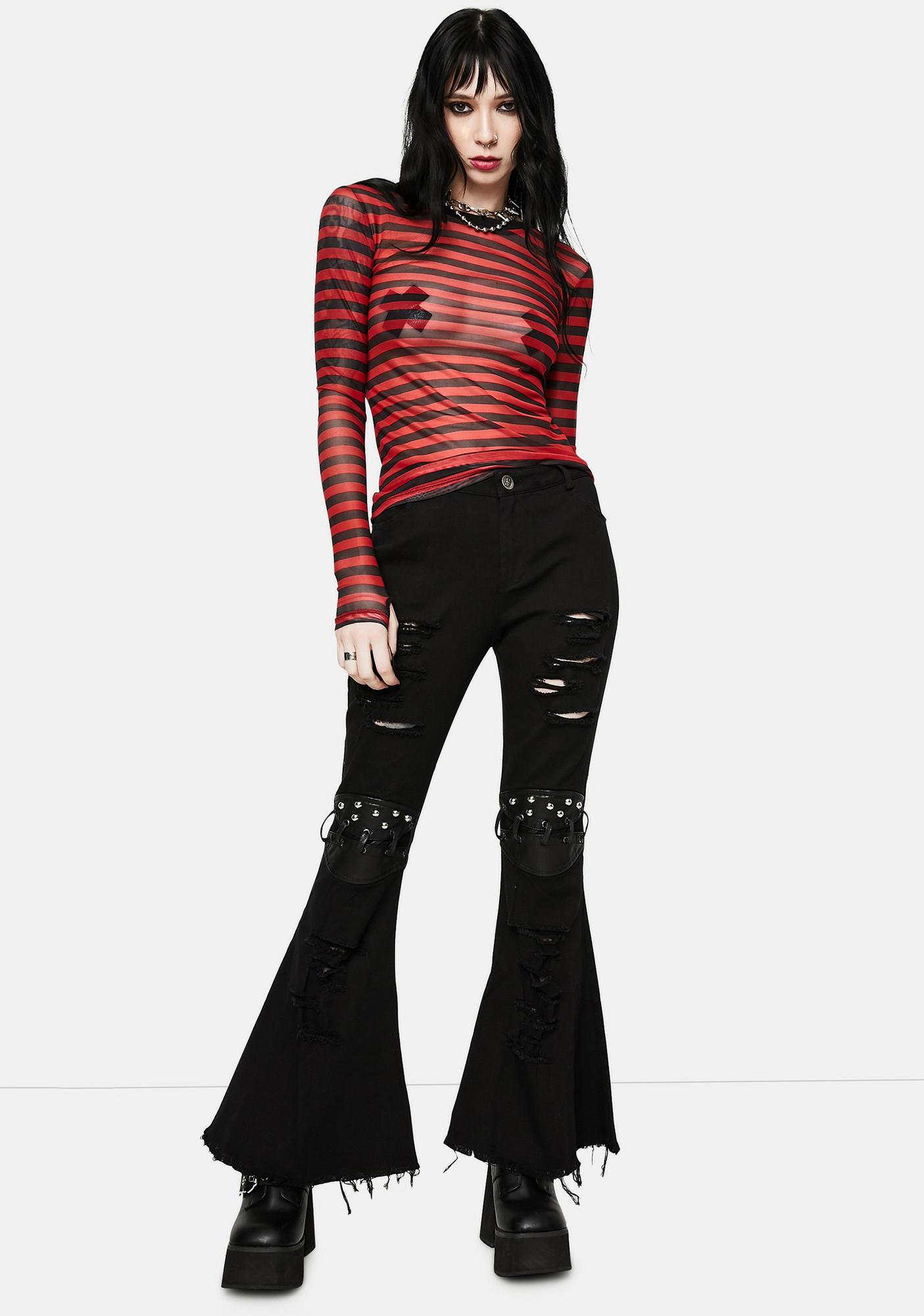Devil Fashion Ripped Flare Jeans With Studded Lace-Up Knee Detail