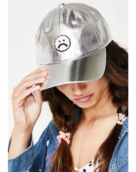 Silver Sad Face Cap