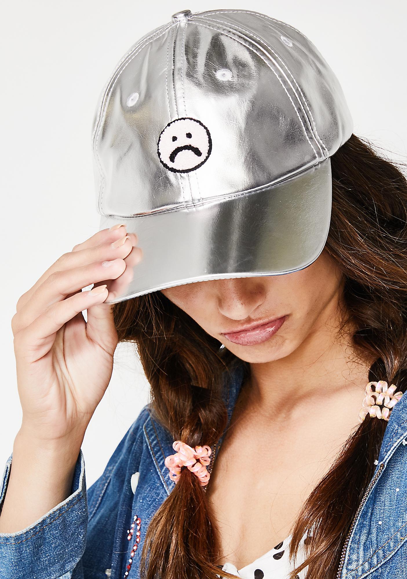 Lazy Oaf Silver Sad Face Cap