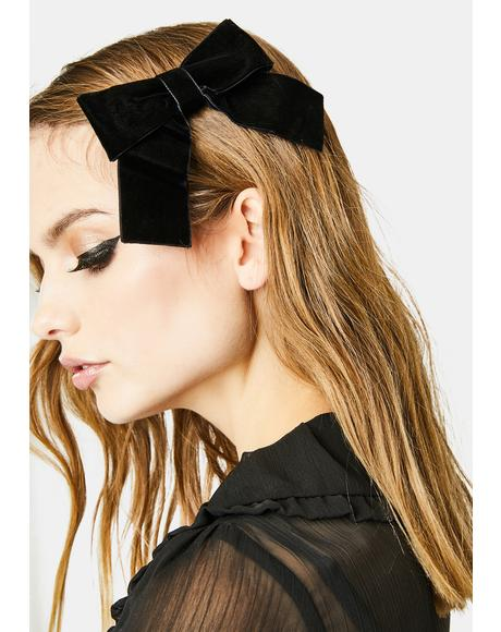 Ask Me Out Velvet Bow Hair Clip