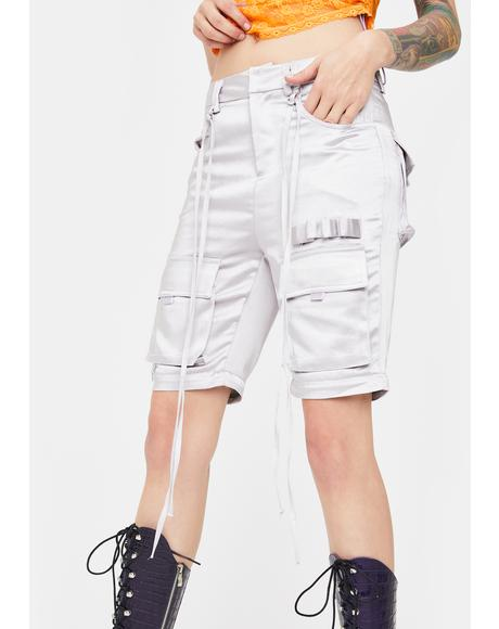 Silver Cargo Zip Off Pants
