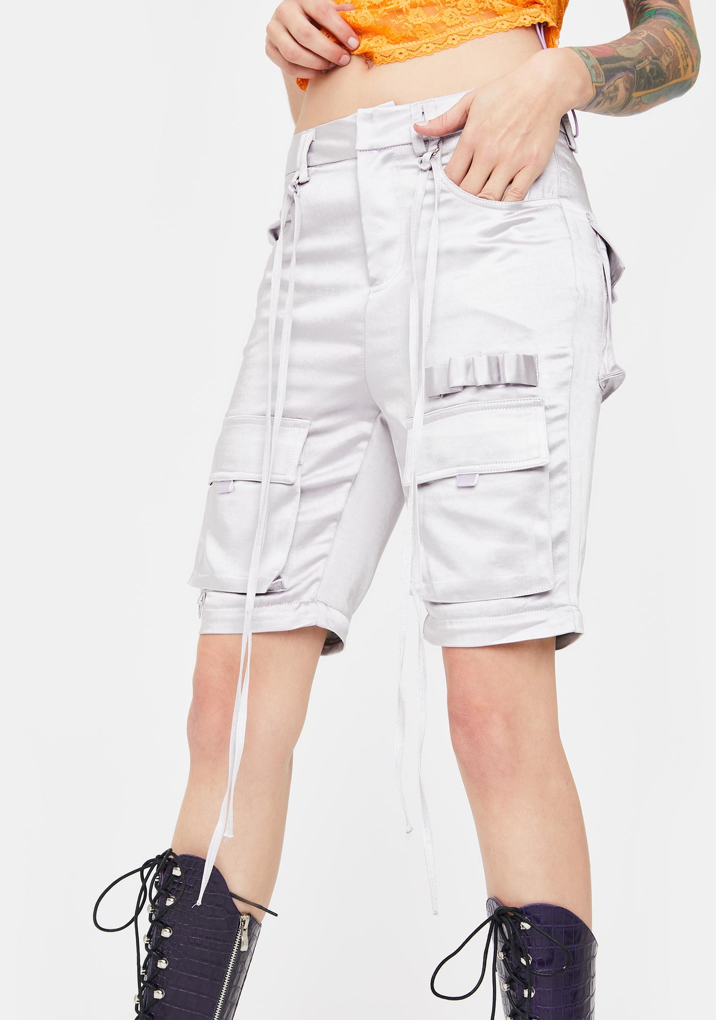 No Dress Silver Cargo Zip Off Pants