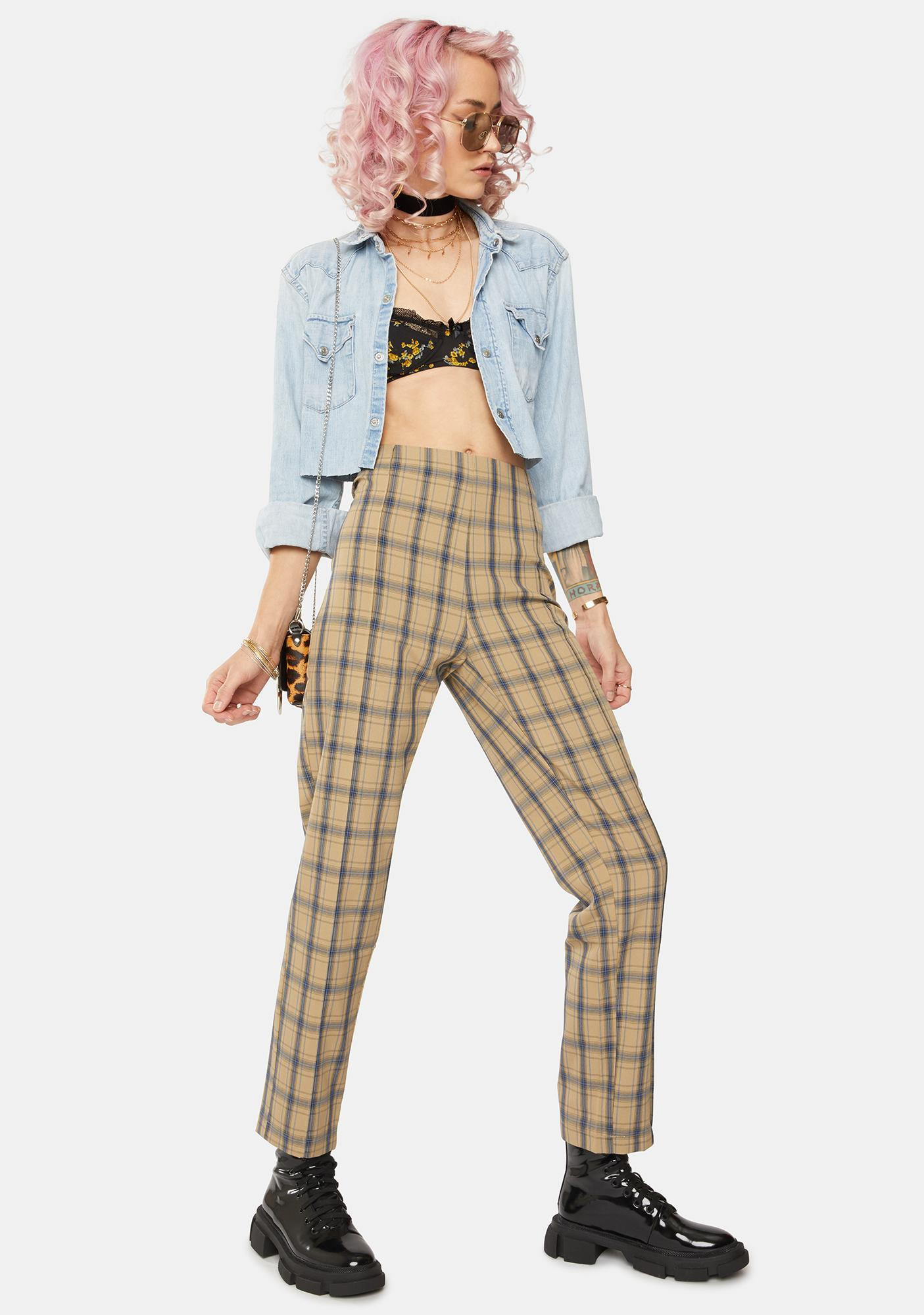Bailey Rose Caramel Tartan High Waist Trousers