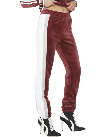 Sporty Heritage Velour Track Pants