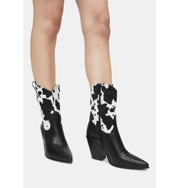 Night Ring the Bells Cow Print Boots