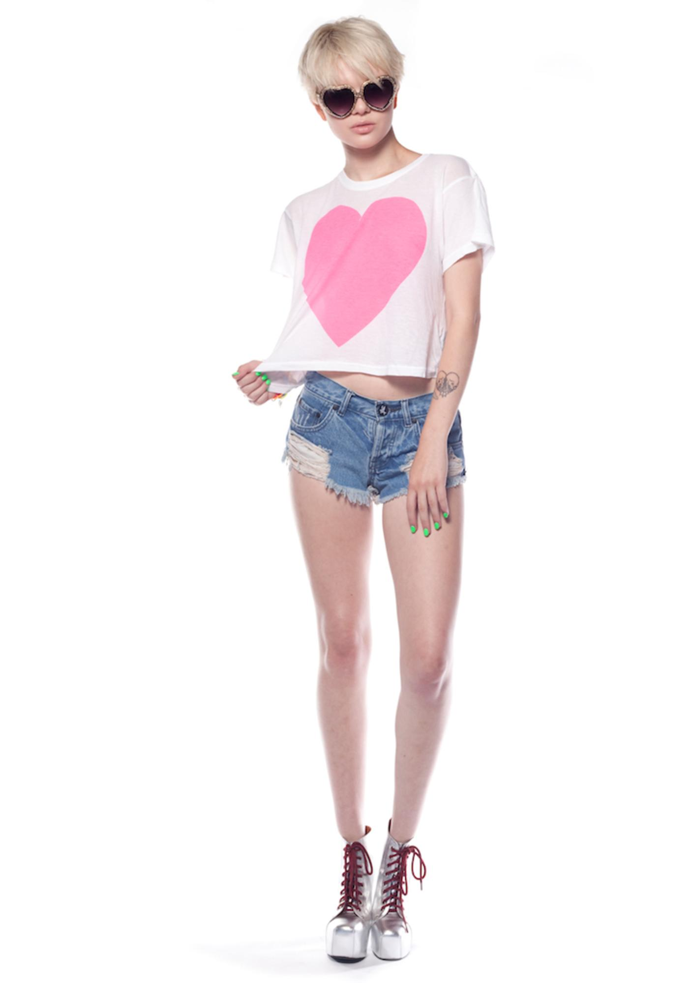 Wildfox Couture Neon Heartbeat Cropped Tee