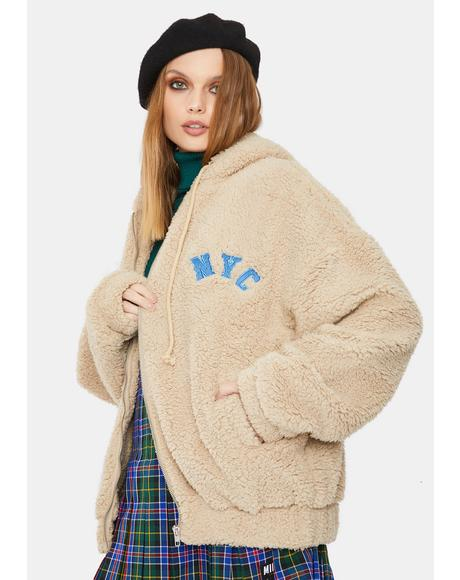Tan Hooded Sherpa Jacket