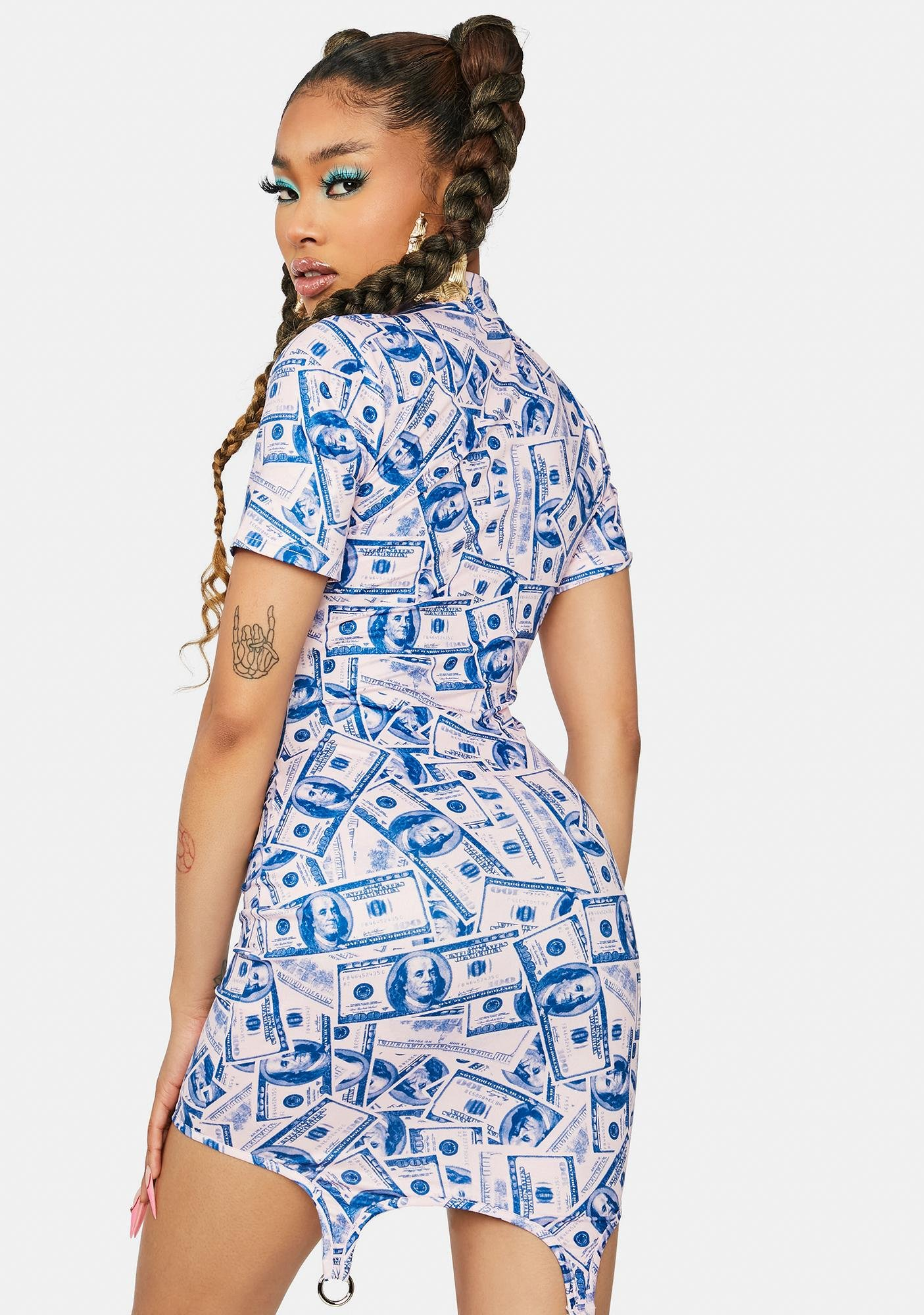 Sweet Big Spender Money Print Mini Dress