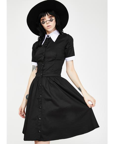 Wednesday Addams Short Sleeve Mini Dress