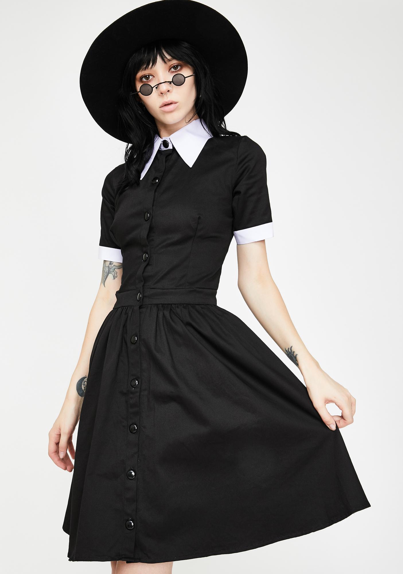 Dr. Faust Wednesday Addams Short Sleeve Mini Dress
