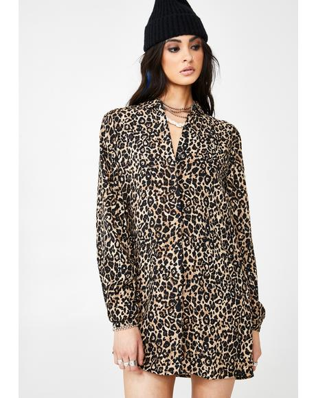 Fad Friend Leopard Button Down