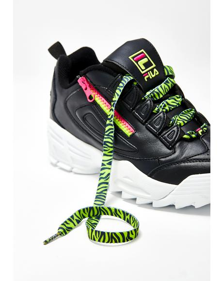 Neon Lime Yellow Zebra Laces