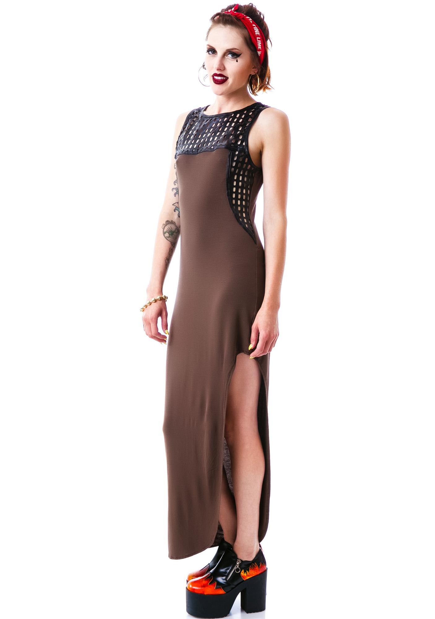 Apocalyptic Veggie Leather Trim Maxi Dress