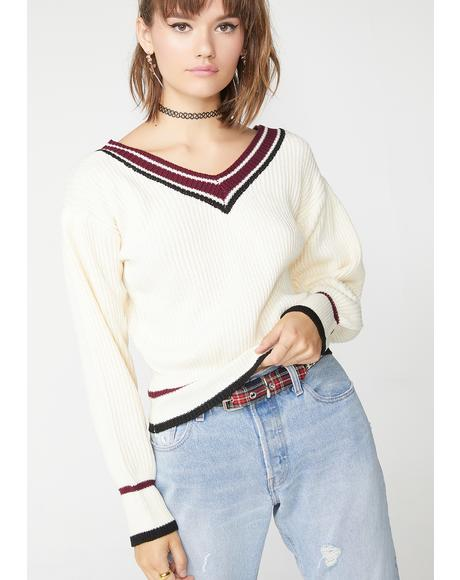 College Prep V Neck Sweater
