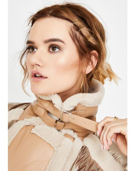 Cream Shearling Metallic Puffer Jacket