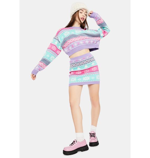 dELiA*s by Dolls Kill Visions Of Sugarplums Fairisle Mini Skirt
