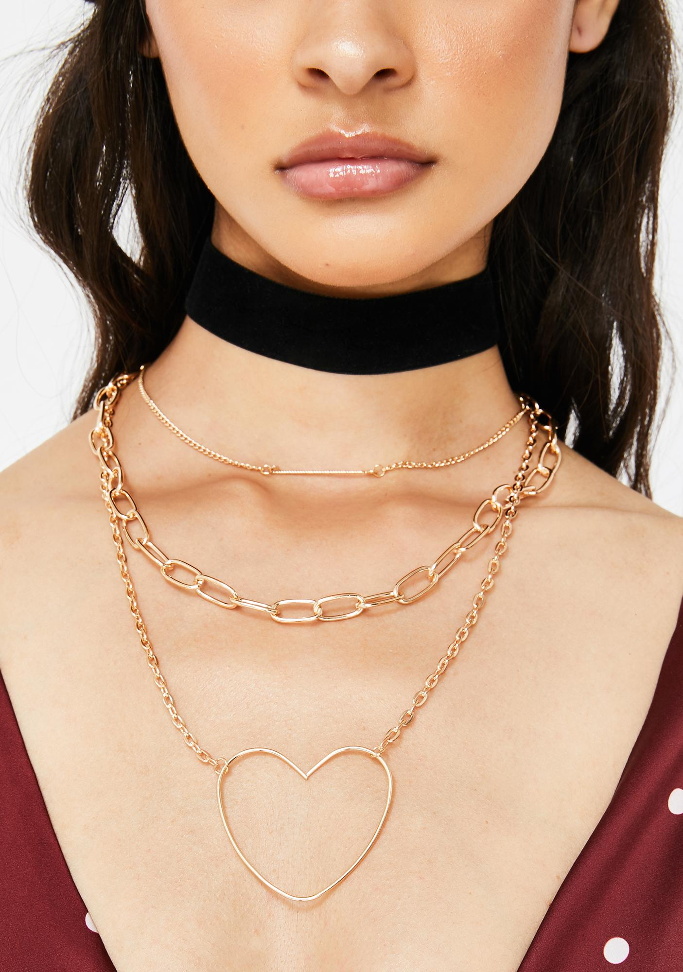 Heart In Chains Layered Necklace