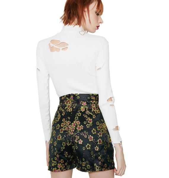 Glamorous Fall Bloom Embroidered Shorts