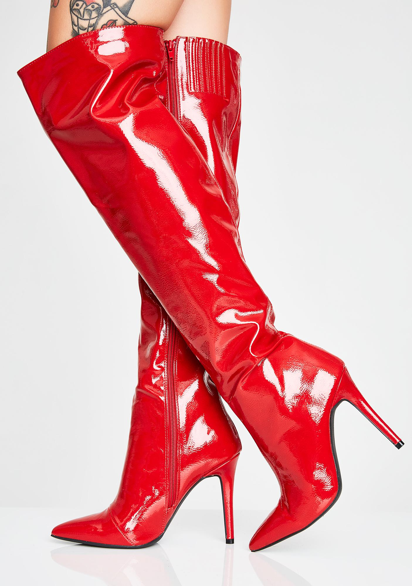 3ee025235 Red Patent Thigh High Boots | Dolls Kill