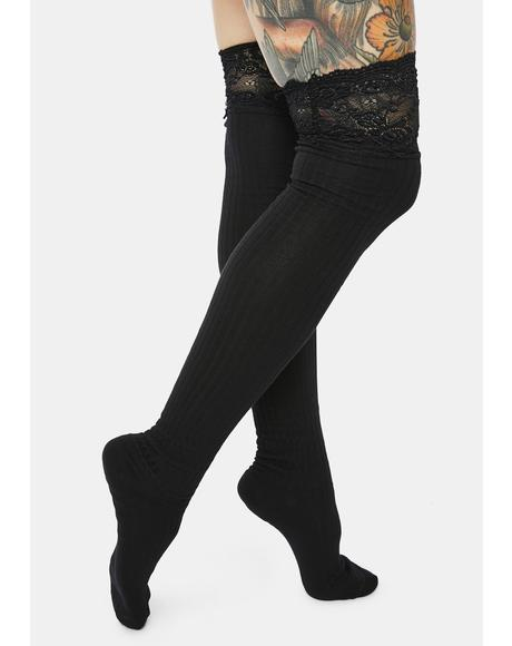 Shadow Specter Lace Thigh High Socks