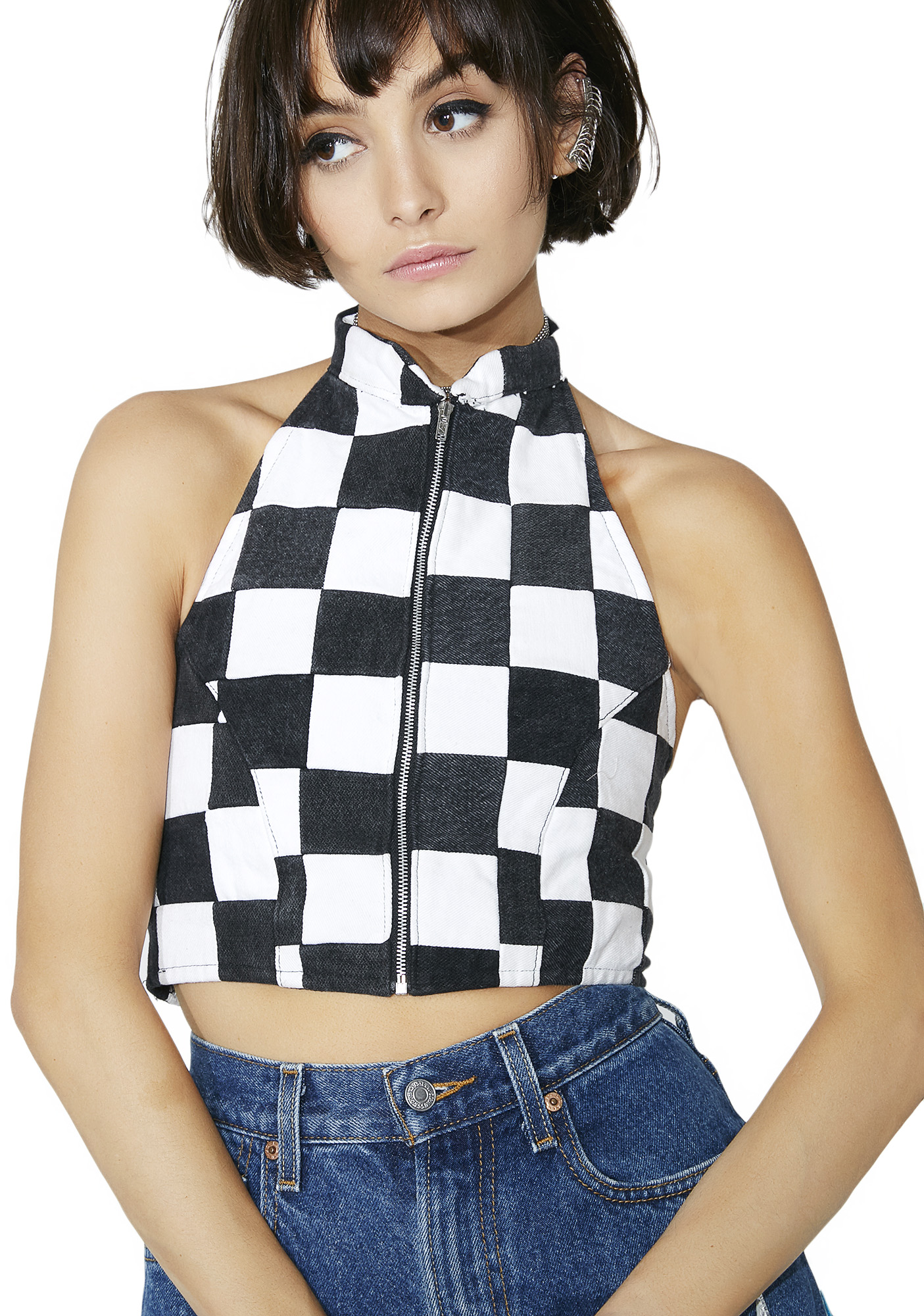 American Vintage Checkered Bustier