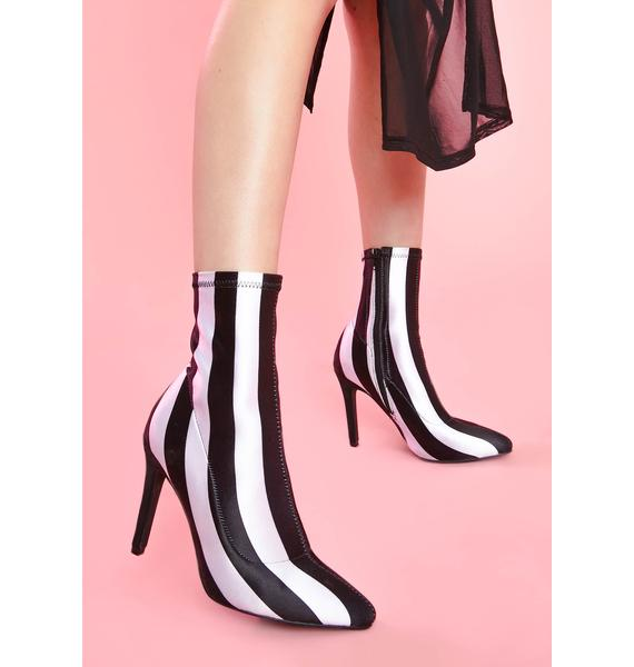 Sugar Thrillz Ghoul Please Striped Booties