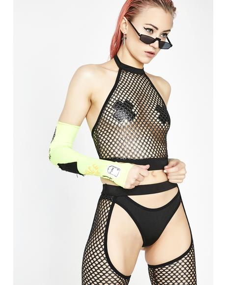 Electronica Fishnet Halter Top