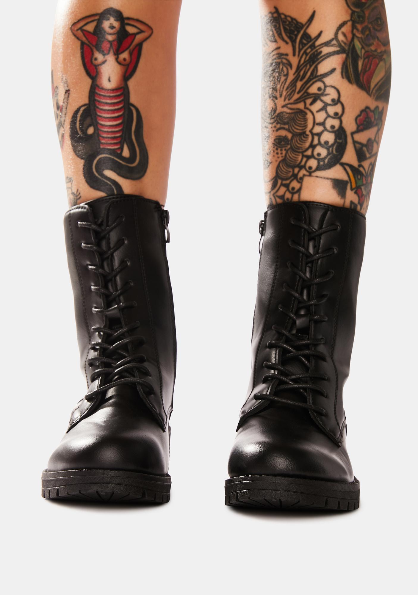 Somber We Meet Again Combat Boots