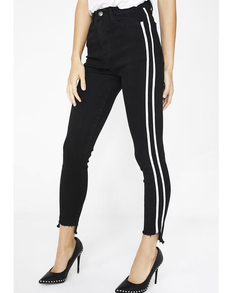 Black Side Stripe Skinny Jeans