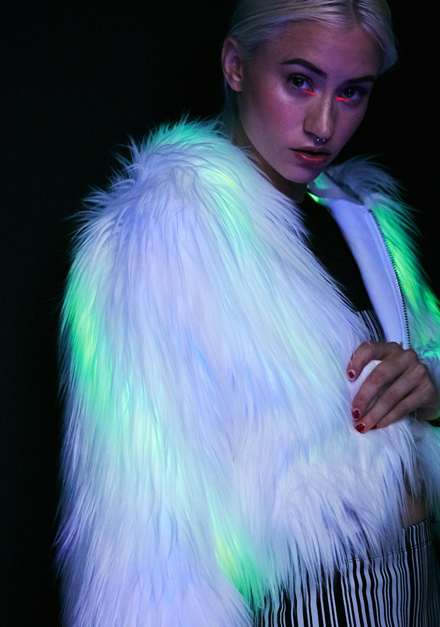 Club Exx Spark The Light Faux Fur Coat