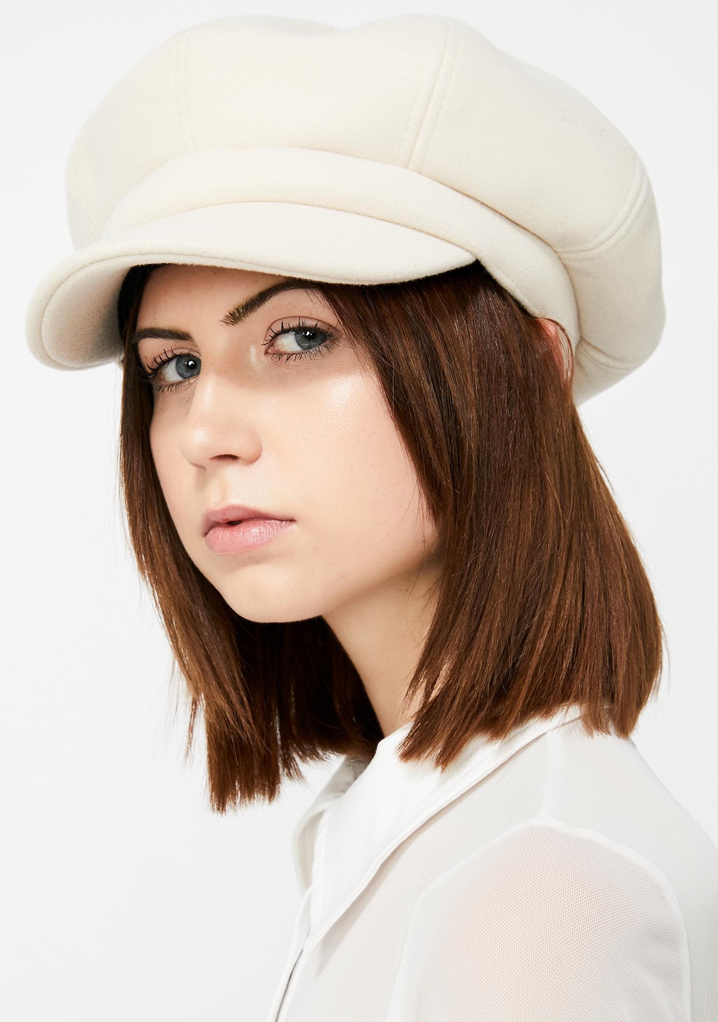 8eb54ae240a0 Oversized Cabbie Baker Boy Hat Off White | Dolls Kill
