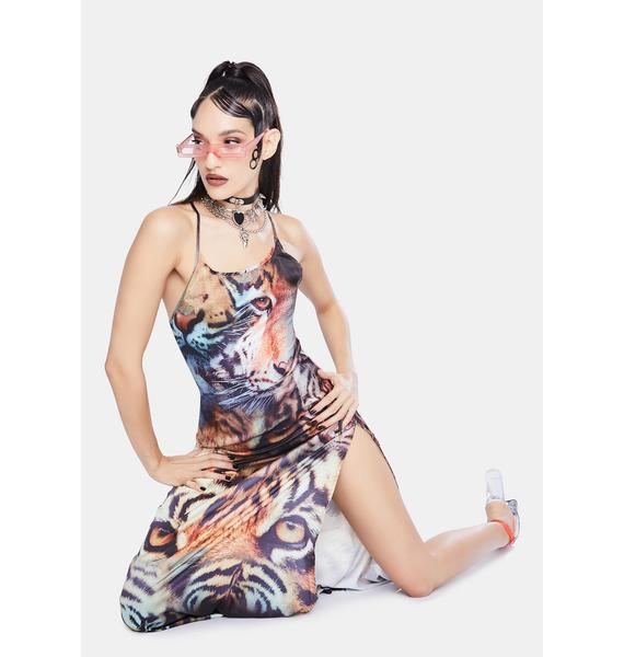 Jaded London Tiger Print Satin Tie Back Maxi Dress