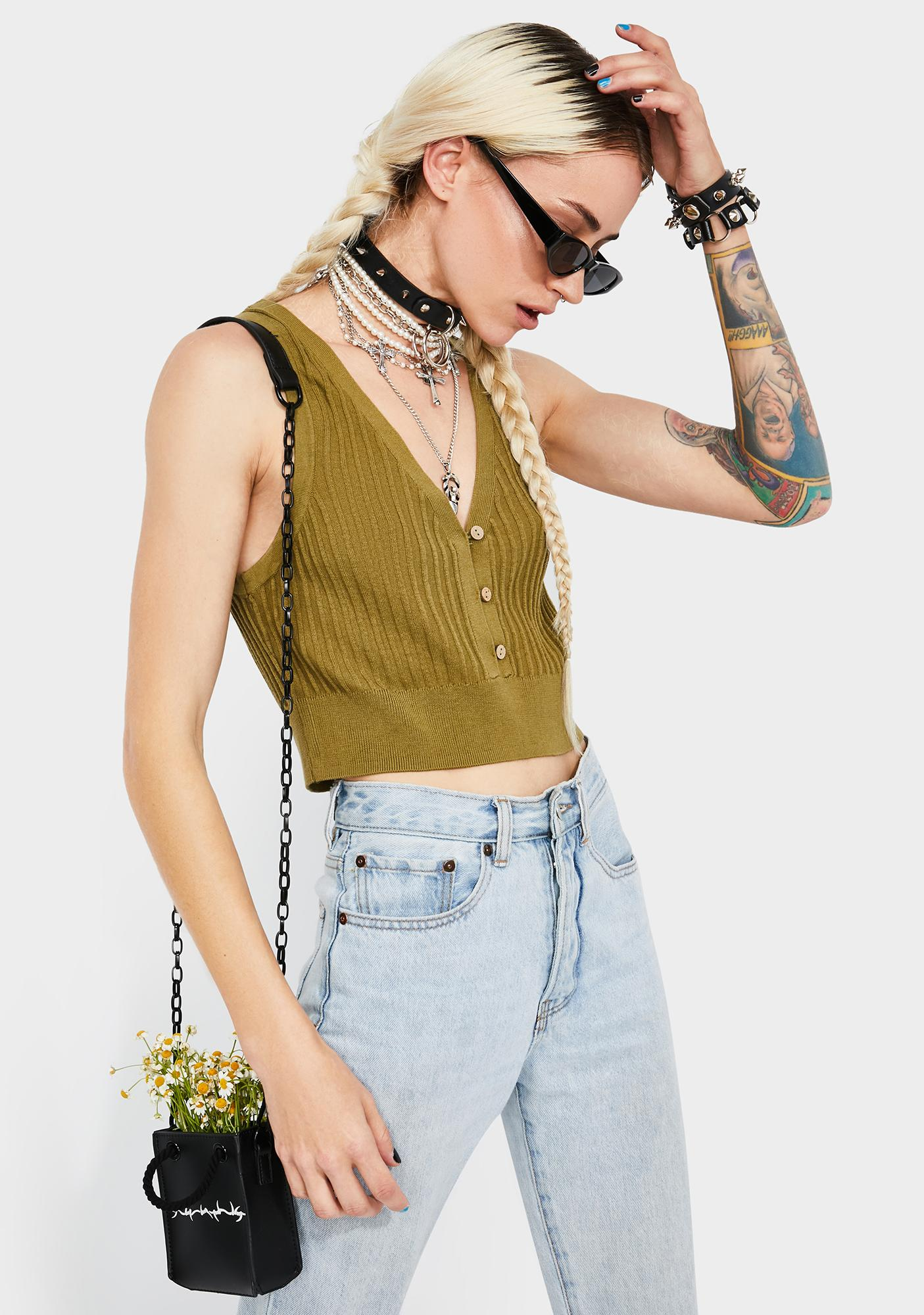 Free People Olive Saturday Morning Crop Top
