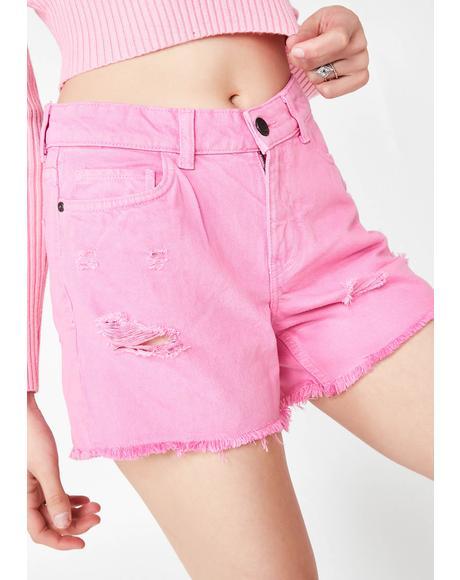 Raw Edge Denim Shorts