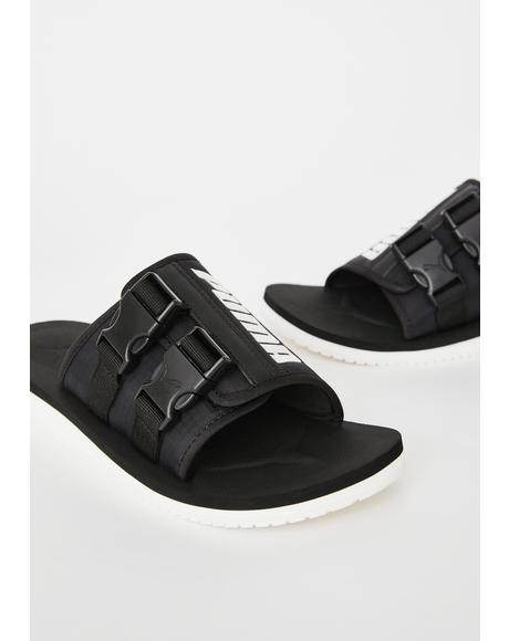 Black Wilo Lux Nylon Slides