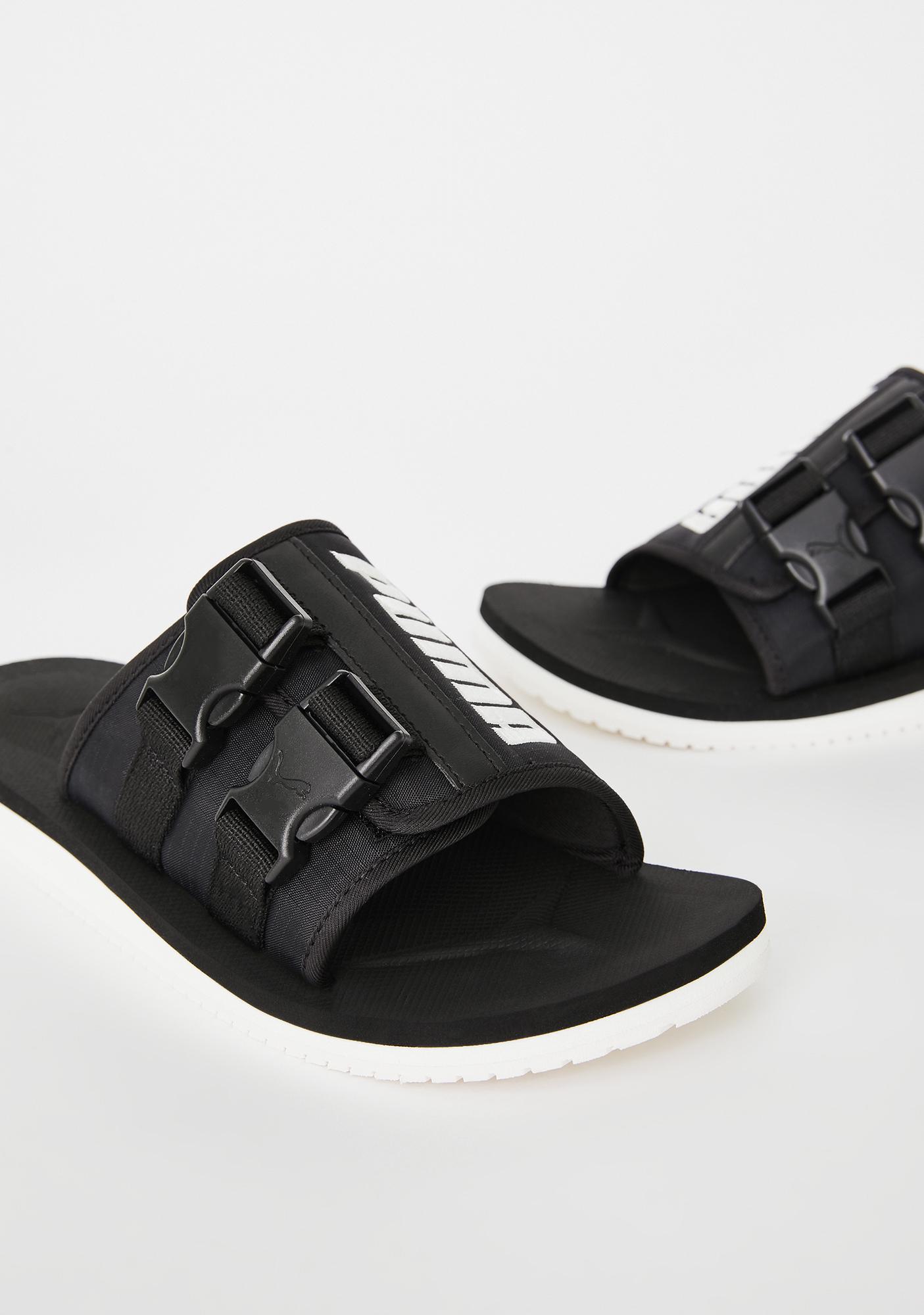 PUMA Black Wilo Lux Nylon Slides
