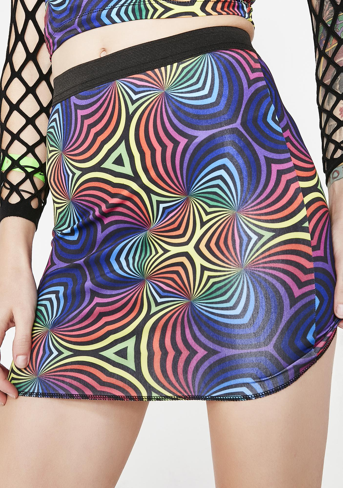 Current Mood Optical Delusion Rainbow Skirt