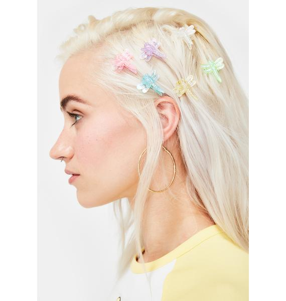 Good Times Eyewear Iridescent Dragonfly Hair Clips