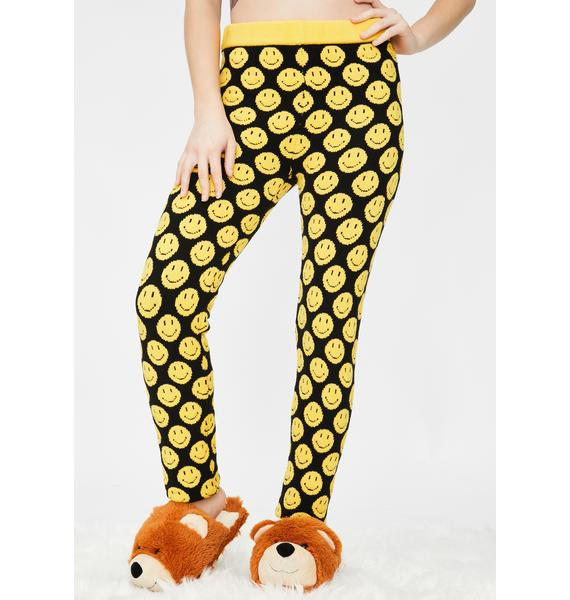 Knitty Kitty Smiley Face Knit Leggings