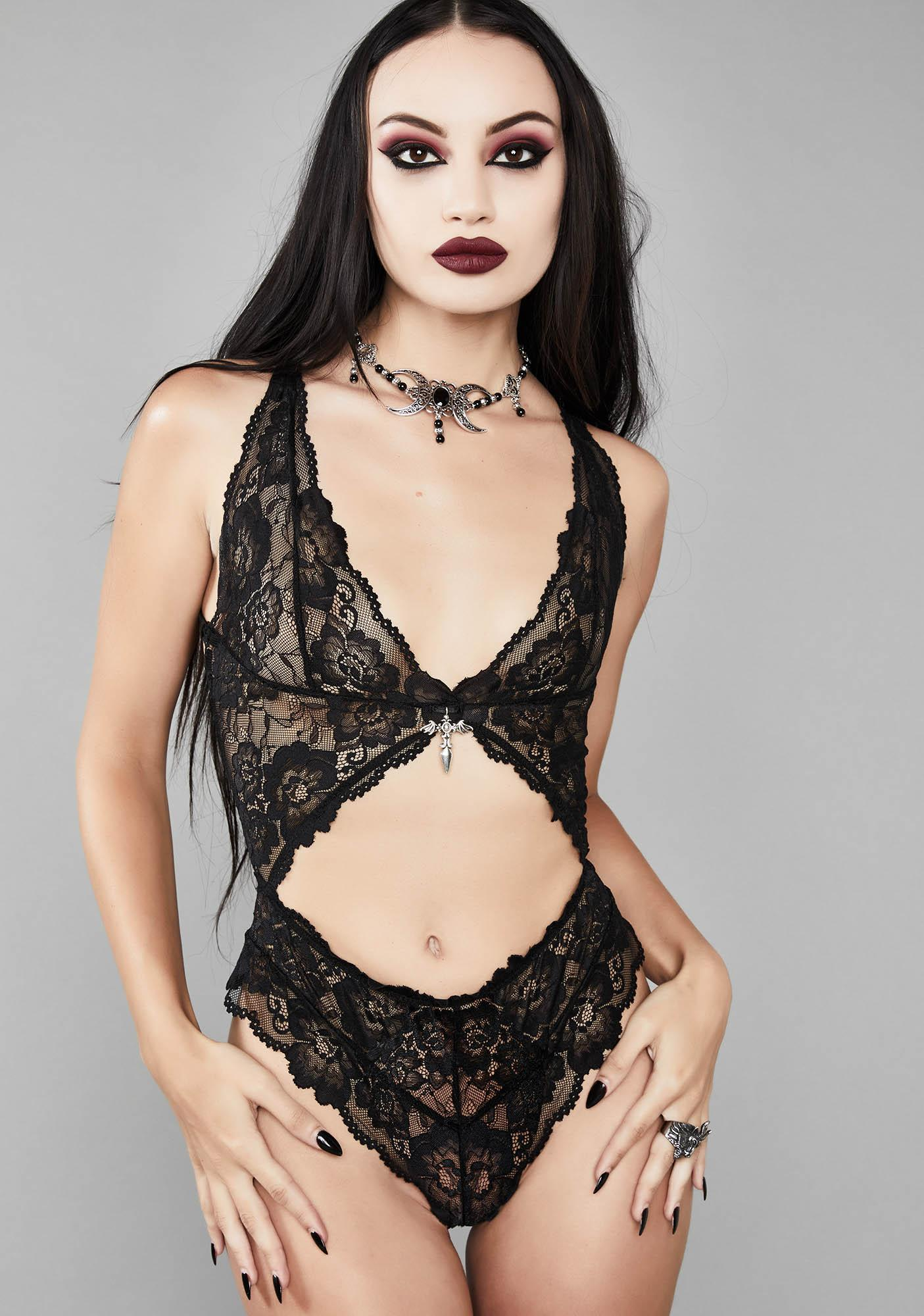 2e13d3bd6ba7 Widow Lace Cut Out Bodysuit | Dolls Kill