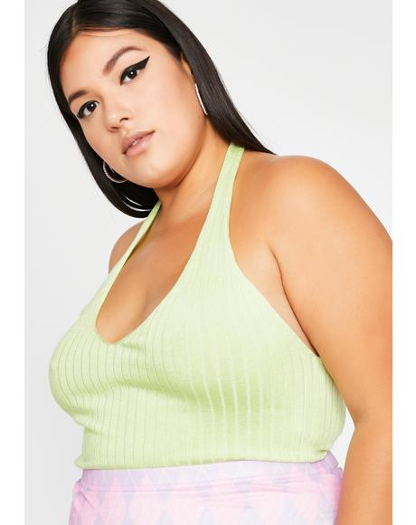 Lime I Got That Feeling Halter Top