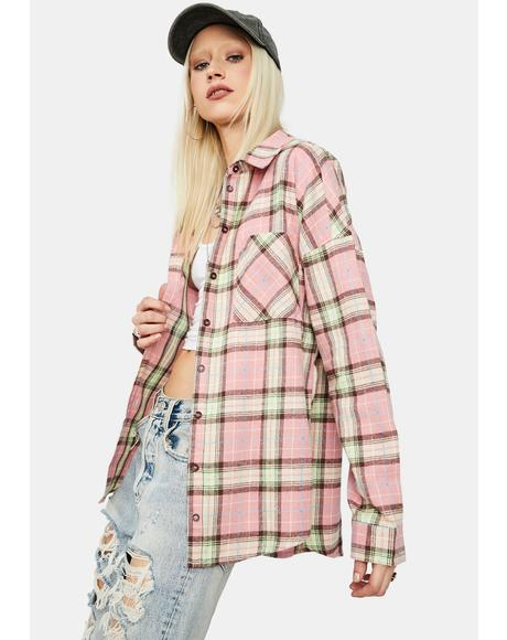 Farm Chic Oversized Button Up Plaid Flannel