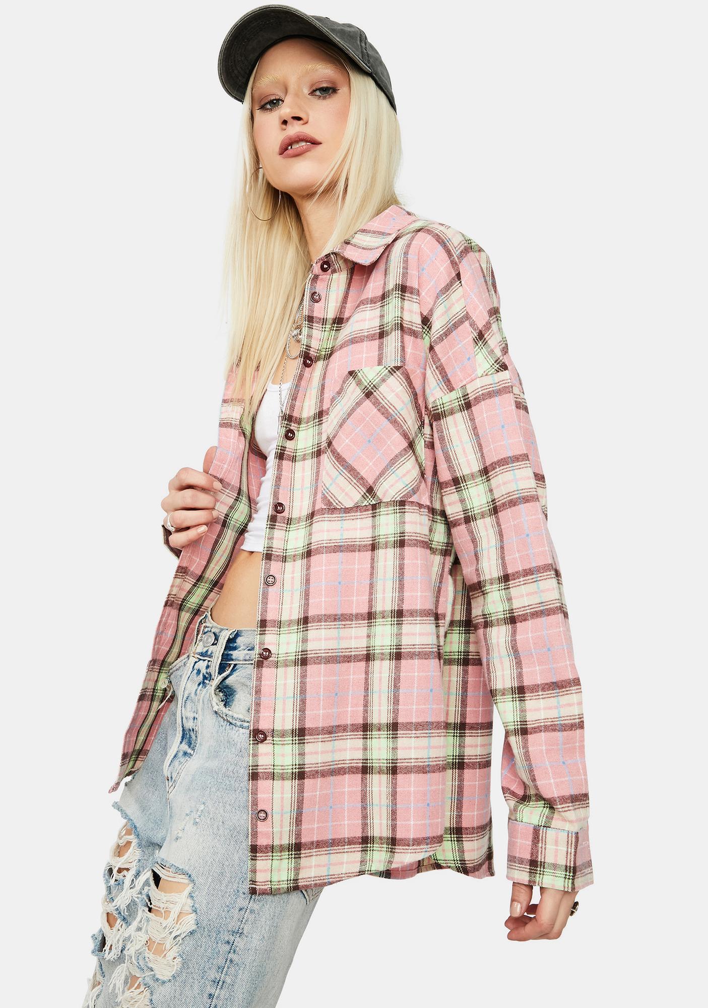 Farm Chic Oversized Button Up Plaid Flannel