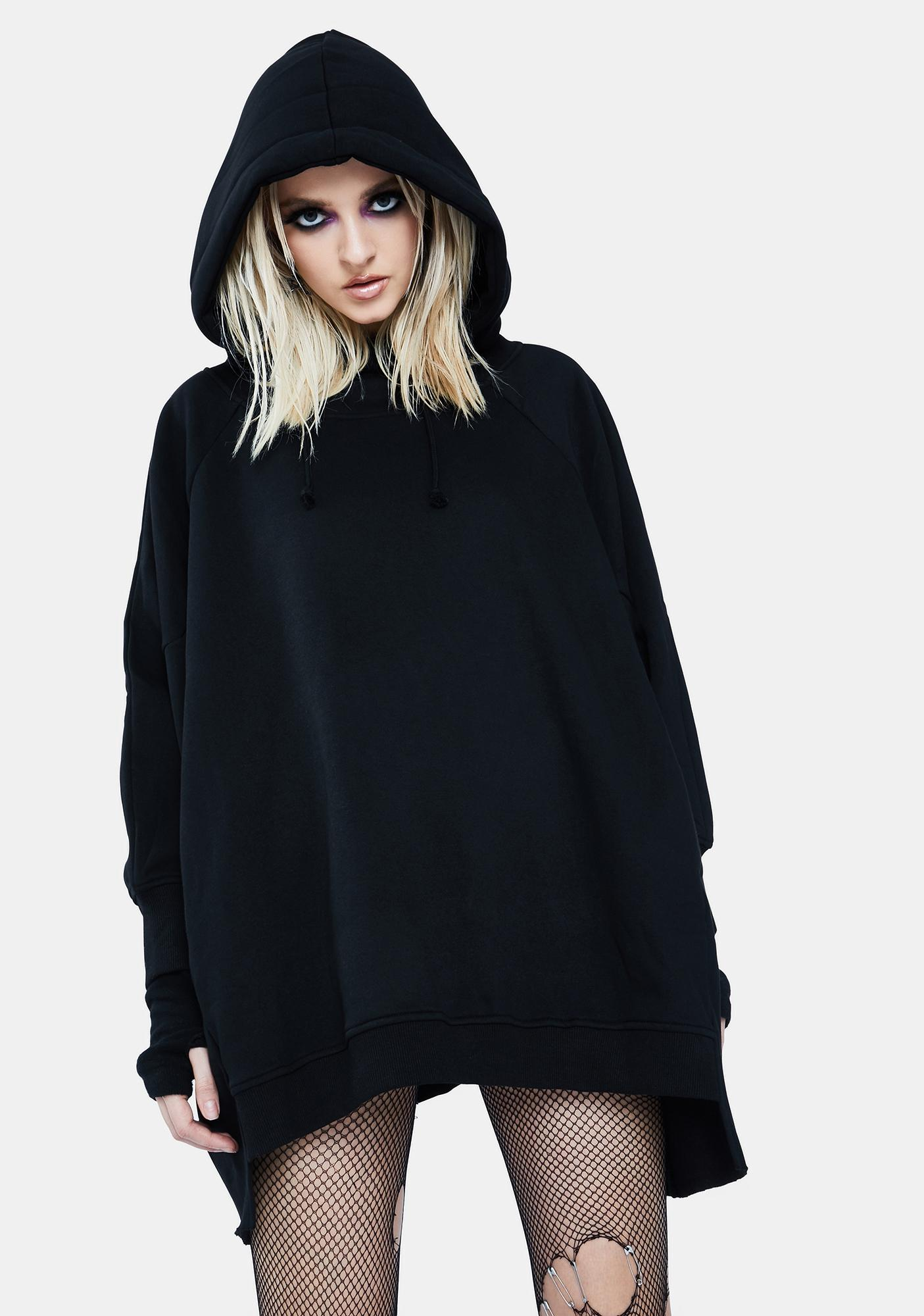 Current Mood Deathly Wishes Oversized Hoodie Dress